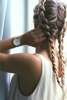 this dutch braids are perfect for school,walk and its so stylish and I recommend to wear a white T shirt with some black jeans it will look perfect~