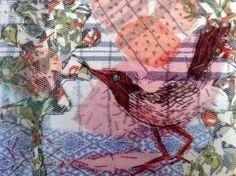 Vogel - katoen, tule en borduurwerk 18x24 cm