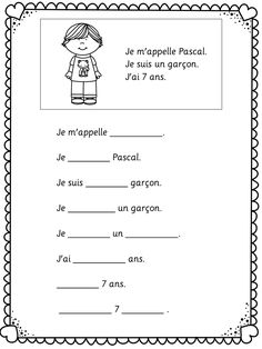 Je me presente. Easy worksheets for young and beginning learners of French. Study French, French Kids, Core French, French Language Lessons, French Language Learning, French Lessons, Spanish Lessons, Dual Language, French Flashcards