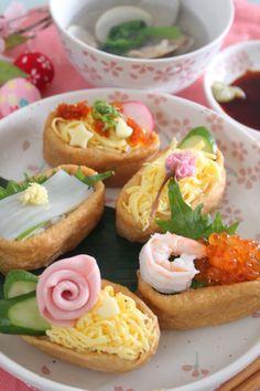 ひな祭りに♪デコレーションいなり寿司  きーちゃんの世界おうちごはん。