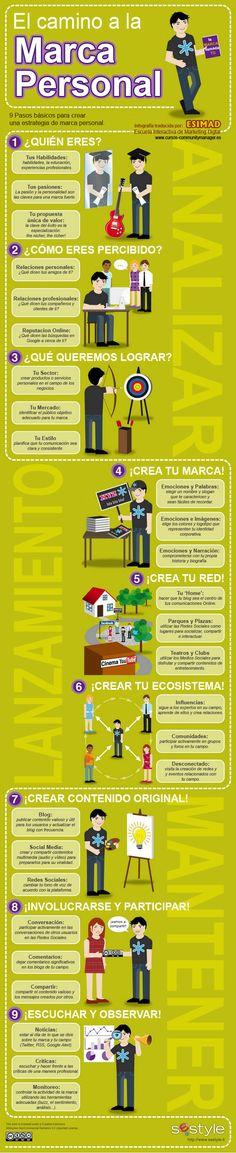 9 pasos básicos para crear una estrategia de marca personal #infografiaenespañol #infografia