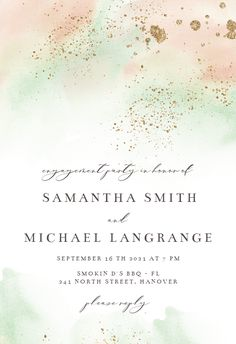 Pink Paint and Gold - Engagement Party Invitation #invitations #printable #diy #template #Engagement #party #wedding Free Wedding Invitations, Engagement Party Invitations, Wedding Logos, Response Cards, Wedding Engagement, Island, Printable, Messages, Party Wedding