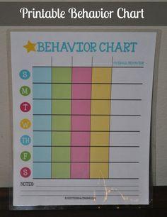 Printable Behavior Chart - A Spark of Creativity