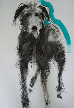 Sally Muir, 'dog a day' project Bedlington Whippet, Lurcher, Whippets, Animal Paintings, Animal Drawings, Art Drawings, Dog Portraits, Portrait Art, Scribble Art