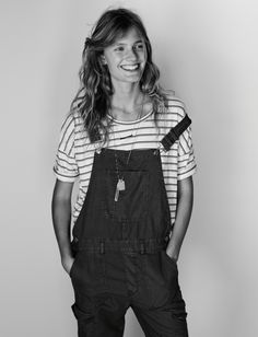 madewell cargo overalls worn with the breeze-back tee + ensign necklace.