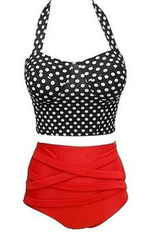 Retro Style Women's Halterneck High-Waisted Polka Dot Bikini Set Color: AS THE PICTURE Size: S, M, L, XL Category: Women > Swimwear   Gender: For Women  Material: Nylon  Support Type: Underwire  Pattern Type: Polka Dot  Swimwear Type: Bikini  Waist: High Waisted  #highwaistedswimsuitshops #swimsuit #nylon #polkadot #bridgat.com