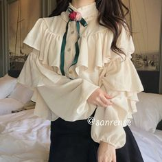 Casual Aesthetic Korean Fashion Victorian Ruffle Blouse t Deer Doll Vintage Outfits, Girly Outfits, Mode Outfits, Pretty Outfits, Vintage Dresses, Cute Fashion, Girl Fashion, Fashion Outfits, Fashion Design