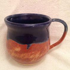 Wheel thrown cobalt and shino coffee/tea mug by BradMorlanPottery