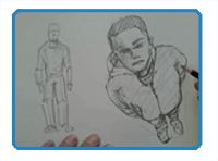 """Foreshortening is what happens when the human figure is viewed in perspective. Foreshortening creates the illusion of space and form in a drawing of a person. This is often because of an extreme point-of-view. This point-of-view can be a """"worm's eye view"""", looking up at the figure; or a """"bird's eye view"""", looking down on the figure. There are other possible angles where foreshortening can occur as well."""