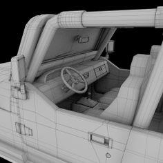 Jeep Cabin Wireframe Blender 3D Model