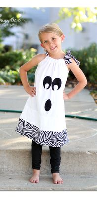 Cute ghost dress,  and so easy to make!  wear as a costume or just to fun fall parties, etc - on the to-make list!