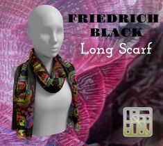 Long Scarf, Different Fabrics, Artwork Prints, Printing On Fabric, Chiffon, It Is Finished, Fashion Design, Black, Silk Fabric
