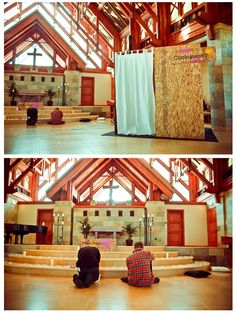 Confession Intercession love the look and feel of this create intimate spaces in public forum. Ministry Ideas, Youth Ministry, Worship Night, Altar Design, Prayer Ideas, Prayer Stations, Worship Ideas, Prayer Journals, Spiritual Formation