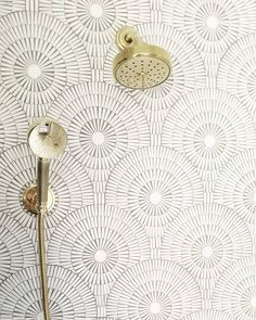 Our Motor City Circles mosaic in Ice White adds some intricate pattern play to t. - Our Motor City Circles mosaic in Ice White adds some intricate pattern play to this dream bath desi - Bathroom Remodel Tile, Restroom Decor, Tile Design, Decor Interior Design, Dream Bath, Bath Design, Show Home, Tile Remodel, Mosaic