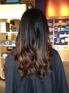 black hair with light brown ombre