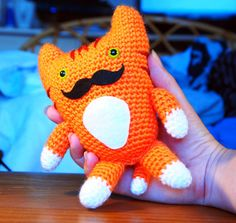 Ginger Mr Moustache Cat Amigurumi Plush by Artbyekaty on Etsy, £13.00