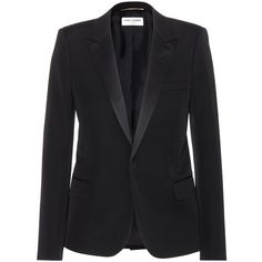 Saint Laurent Wool Blazer (€2.280) ❤ liked on Polyvore featuring outerwear, jackets, blazers, tops, coats, black, wool blazer, yves saint laurent, yves saint laurent jacket and wool jacket