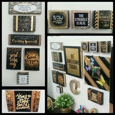 DIY INSPIRATIONAL & MOTIVATIONAL QUOTE BLOCKS ON CANVAS : Cubicle Decor : Made with Modge Podge, printed photo paper, on various small canvases (Walmart buy) glitter gold pen, washi tape, gold foil and rhinestones jewels.