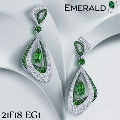 Adorn emerald trendy earrings to enhance your looks.