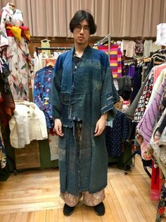 Late 1800 antique indigo rain cape and indigo Boro kimono ☆ Thanks a lot to this handsome young Chinese man to be such a great model!  So Stylish + Cool! ♡   http://www.fujikimono.co.uk/kimono/indigo-boro-kimono-ranru.html  #kimono #kimonojacket #FujiKimono #kawaii #cosplay #HYPERJAPAN #vintage #antique  #textile #costume #oriental #indigo #boro #hakama #fashion #Japon #Japonisme  #wearableart #upcycle #sustainable #tabi #tabiboots #dojo