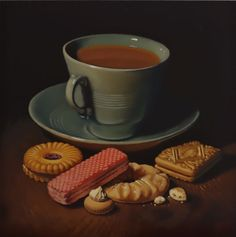 tea and biscuits Oil on board by Lucy Crick