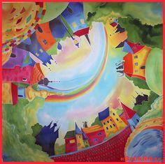 "Шелковый платок батик ""Прага"" - рисунок,Батик,Прага,городской пейзаж,город"