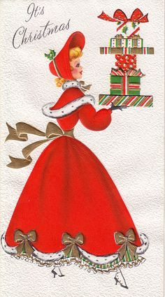 Nicely wrapped - Vintage Christmas Card
