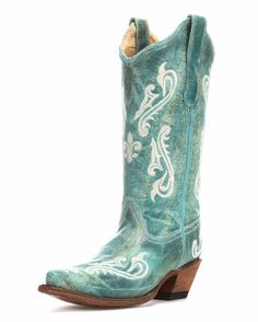Fall in love with Corral's undisputed classic! Their Turquoise Cortez/Cream Fleur de Lis Cowgirl Boot is a modern take on cowboy style. The stunning genuine leather is embellished with cream embroidery on the foot, shaft, and heel counter. Corral Cowgirl Boots, Womens Cowgirl Boots, Western Boots, Boots Cowboy, Country Boots, Western Style, Country Chic, Crazy Shoes, Me Too Shoes