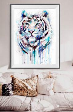 Imprimir acuarela de tigre blanco animal Ilustración por SlaviART
