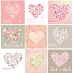 Free Vector Beautiful floral art heart shape greeting card set ...
