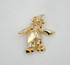 Vintage Brooch Clown Rhinestones Shiny Gold Tone Very Cute by SokolProjectsVintage on Etsy