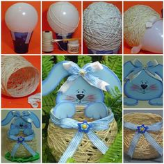 Yarn String Easter Basket #diy #Easter