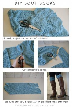 Boots and legwarmers are the rage right now, but who wants to pay an arm and a leg for them? here is a DIY boot socks or legwarmers tutorial ~Lace and Buckles~ Great use for old sweaters! Boot Cuffs, Boot Socks, Diy Fashion, Winter Fashion, Womens Fashion, Unique Fashion, Fashion Ideas, Do It Yourself Baby, Old Sweater