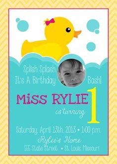 Rubber Duck Birthday Invitation Custom by SimplyCreativeMel Rubber Duck Birthday, Rubber Ducky Party, It's Your Birthday, 1st Birthday Parties, Girl Birthday, Birthday Ideas, Twins 1st Birthdays, Baby Scrapbook, Diy Photo