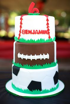 All-star sports theme birthday party! So many great ideas for a sports party! Sports Theme Birthday, 3rd Birthday, Birthday Party Themes, Birthday Cakes, Themed Parties, Birthday Ideas, Sports Diaper Cakes, Sport Cakes, Star Party