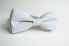 Bow Tie for Men by BartekDesign: pre tied pastel blue gray white stripes grooms wedding chic light on Etsy, $29.50