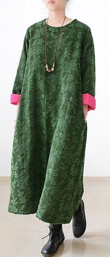 2017 winter green jacquard cotton  plus size thick warm maxi dress