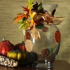 Dollar Store Crafts » Blog Archive » Make a Beaded Fall Vase