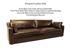 Prescott Track Arm Leather Sofa by Casco Bay Furniture. - A Premier Leather Furniture Collection superbly made by skilled craftsman by one of North Carolina's foremost high end specialty leather manufacturers. This set features: True Eight-way hand-tied spring suspension (Built to Last a Lifetime!), free Down Blend Seat Cushions and Back Cushions, 100% Kiln-dried, double-doweled, corner blocked, hardwood frames for maximum durability. Custom options available! #CascoBayFurniture #leathersofa Leather Furniture, Leather Sofa, Casco Bay, Hardwood Plywood, Furniture Collection, Seat Cushions, Living Room Furniture, Craftsman, Frames