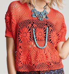 Marisa Almeida Tricot Crochet : Blusa Crochet Laranja - Projeto Trama Mágica