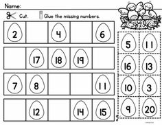 Spring Count to 20 includes Math Center Activities and Worksheets to reinforce counting and number order to 20.