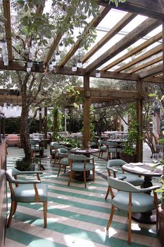 ARTO Tiles in The Most Romantic Restaurants In The World Cecconi s South Beach Rustic Elegance Handcrafted in Los Angeles Since 1966 Outdoor Restaurant Design, Terrace Restaurant, Deco Restaurant, Coffee Shop Design, Cafe Design, House Design, Brewery Design, Terrace Design, Pergola