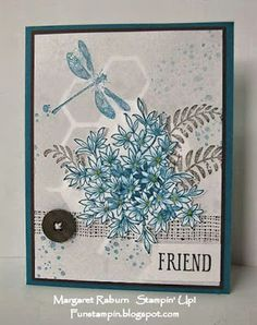 Fun Stampin with Margaret!  CCMC360  Awesomely Artistic set; Island Indigo, Smoky Slate, Chocolate Chip.