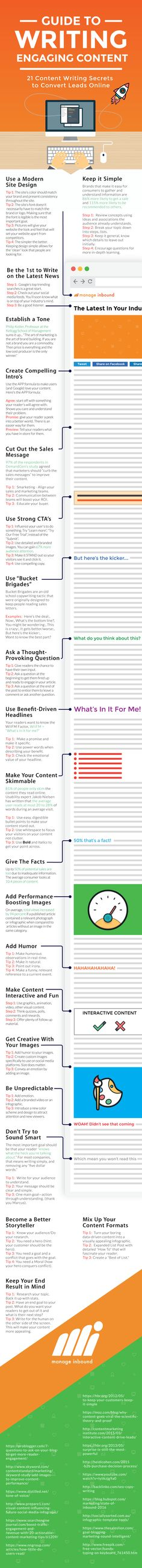 Guide to writing engaging content: 21 Content writing secrets to convert leads online - infographic
