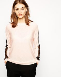 Whistles Penelope Sweater with Lace Insert