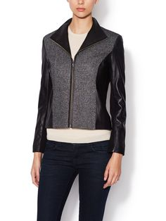 Leather and Tweed Jacket from Mobile First Look: Cole Haan Women's on Gilt
