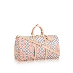 04f22a0f6e9b Louis Vuitton Keepall 50 Cream Pink  Tahitienne Damier Azur Canvas  Weekend Travel Bag