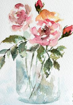 Original Watercolor Painting, Hand painted Greeting Card, Rose Bouquet, Mothers-day Card 4x6 inch von ArtCornerShop auf Etsy https://www.etsy.com/de/listing/580951992/original-watercolor-painting-hand