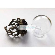 Cúpula cristal 20 x 15 mm y anillo bronce (1 set)