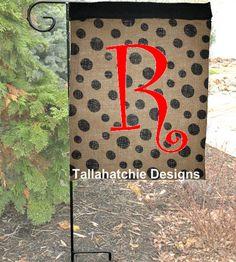 Burlap Polka Dot Garden Flag Summer Garden by TallahatchieDesigns, $20.00